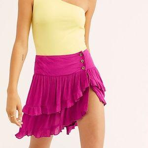 Free People Costello Ruffled Tiered Mini Skirt